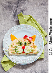 breakfast for kids with cat quesadilla - Funny breakfast for...