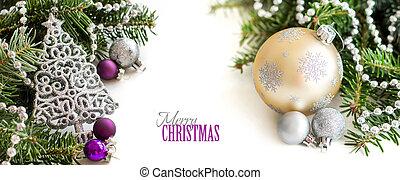 Silver,cream and purple Christmas ornaments border on white...