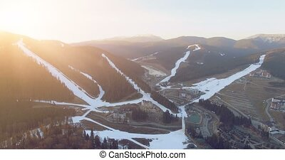 Ski resort in mountains. 4k, 25fps - 4K Aerial Top View of...