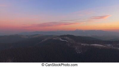 Mountain landscape at sunset. 4k, 25fps - 4K Aerial Top View...