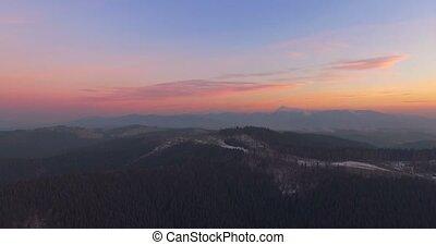 Mountain landscape at sunset. 4k, 25fps