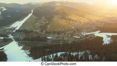 Ski resort in mountains. 4k, 25fps - 4K Aerial Top View of...