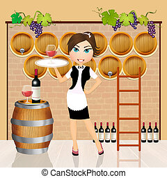 Winery - illustration of girl in the winery