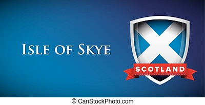 Scotland Flag with Isle of Skye sign