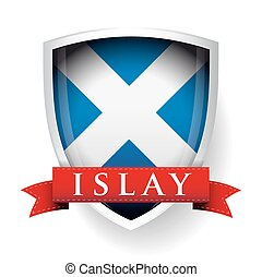 Flag of Scotland with Islay sign on ribbon vector