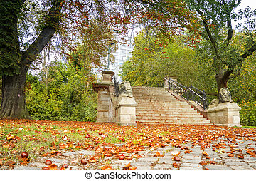 Autumn Landscape with chestnuts on the stairs