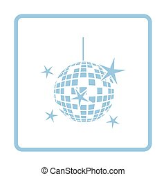 Night clubs disco sphere icon Blue frame design Vector...
