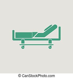 Hospital bed icon. Gray background with green. Vector...