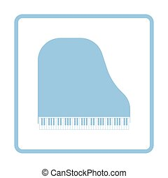Grand piano icon. Blue frame design. Vector illustration.