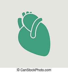 Human heart icon Gray background with green Vector...