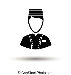 Hotel boy icon. White background with shadow design. Vector...