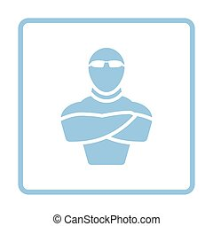 Night club security icon. Blue frame design. Vector...