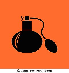 Cologne spray icon. Orange background with black. Vector...