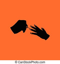 Manicure icon Orange background with black Vector...
