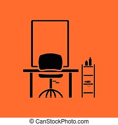 Barbershop icon. Orange background with black. Vector...