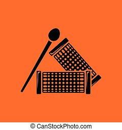Hair curlers icon. Orange background with black. Vector...