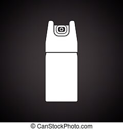 Pepper spray icon Black background with white Vector...