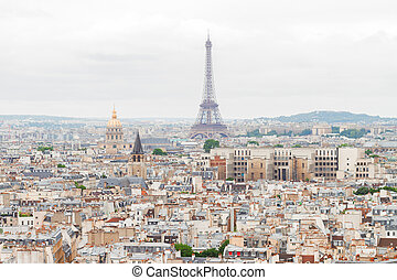 skyline of Paris with eiffel tower - Paris city roofs...