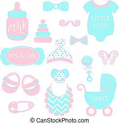 A vector illustration of cute baby girl icons like nappy pins, pacifier and baby toys. pink and turquoise silhouette Hipster photo booth