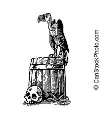 Griffin sitting on barrel with skull.