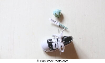 Fitness idea, flower with text and sport sneaker - Fitness...
