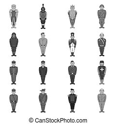 Military army soldiers uniform icons set in black monochrome...