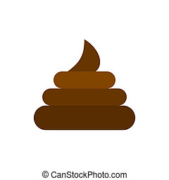 Turd icon, flat style - Turd icon in flat style isolated on...