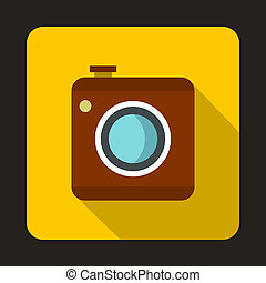 Photo camera icon, flat style - icon in flat style on a...