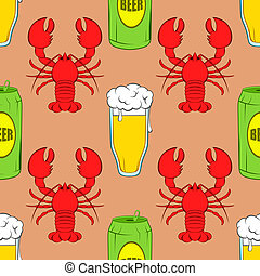 Beer seamless pattern - Glass of beer, lobsters and aluminum...