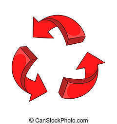 Red arrow recycling icon, cartoon style - icon in cartoon...