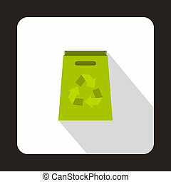 Green paper bag with recycling symbol icon - icon in flat...