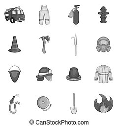 Firefighting icons set, black monochrome style -...