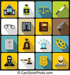 Crime and punishment icons set, flat style - Crime and...