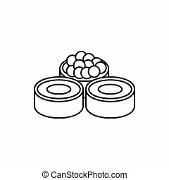 Sushi roll, japanese food icon, outline style - Sushi roll,...