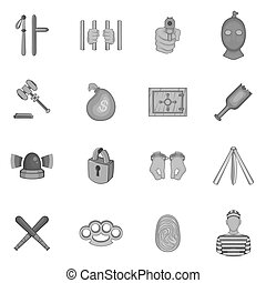 Crime icons set, black monochrome style - icons set in black...