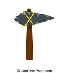Ancient stone axe icon, flat style