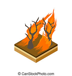 Forest fire icon, cartoon style - icon in cartoon style on a...