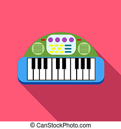 Baby piano icon, flat style - Baby piano icon in flat style...