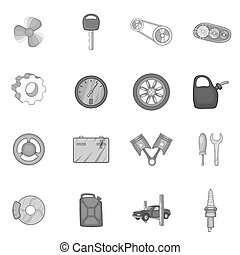 Auto spare parts icons set, black monochrome style - Auto...