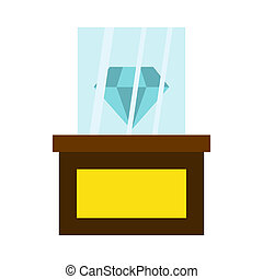 Diamond on a pedestal icon, flat style - icon in flat style...