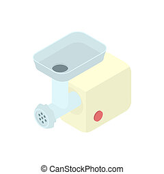Electric meat grinder icon, cartoon style - icon in cartoon...