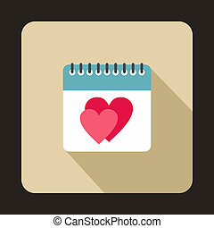 Calendar with heart icon, flat style - icon in flat style on...