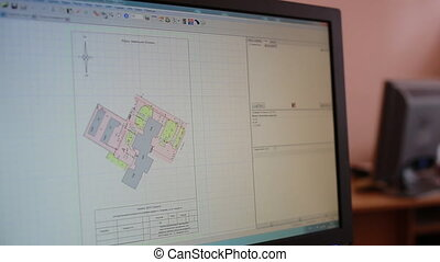 Surveyor work with plan of the house - Surveyor work with...