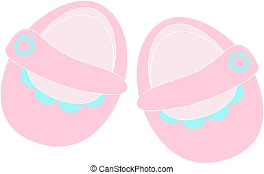 Children's shoes - Vector icon isolated cute pink booties...