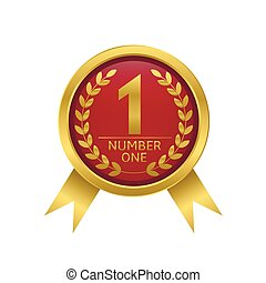 First place icon Golden number one Vector illustration