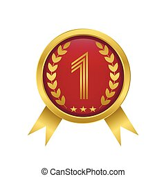 First place icon Golden number one Award label Vector...