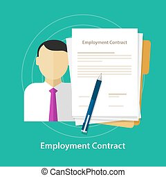 employment contract paper document desk and hand human resources