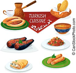 Turkish cuisine traditional dishes cartoon icon - Turkish...