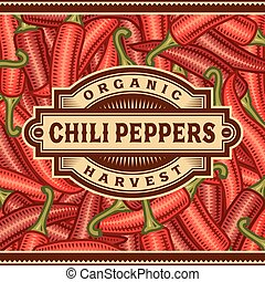 Retro Chili Pepper Harvest Label