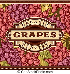 Retro Grapes Harvest Label